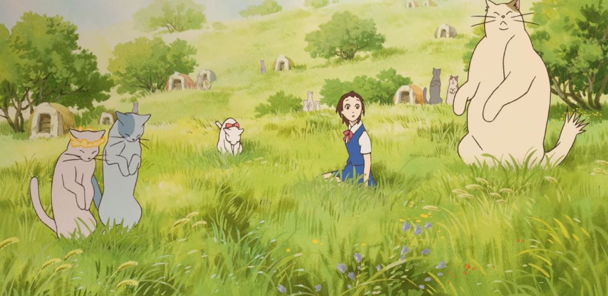 Haru after first entering the Cat Kingdom, Muta and other cats surrounding her   The Cat Returns   The Best Cat Anime!