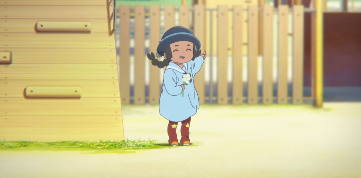 Maria with flowers at the playground   Maria Ishida - A Silent Voice   Foreign Characters in Anime