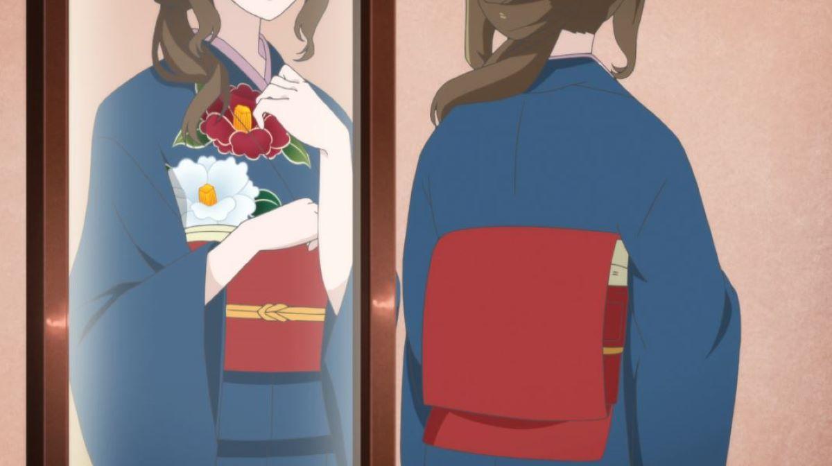 Aoi trying on a new blue kimono | Kimono | Kimono, Yukata and Hakama