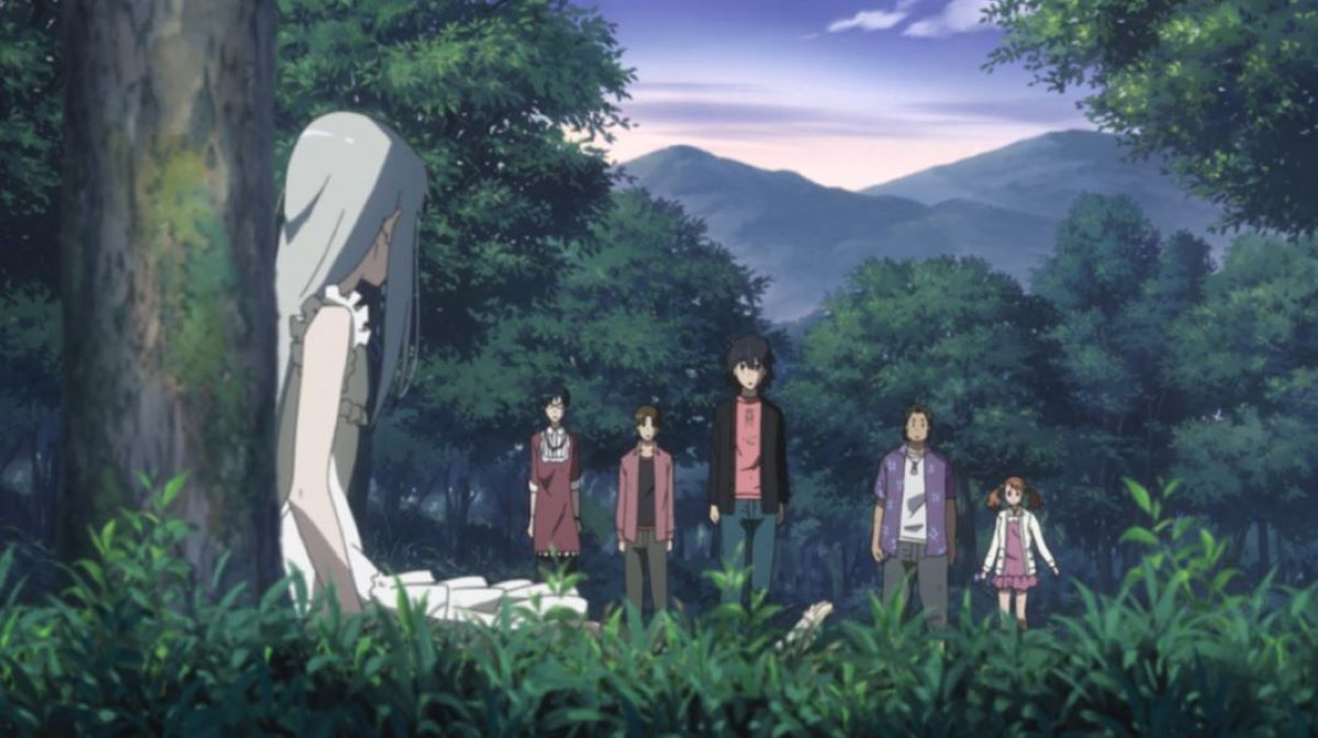 The whole group looks at Memna sitting by a tree | Anohana: The Flower We Saw That Day | Mystery Anime
