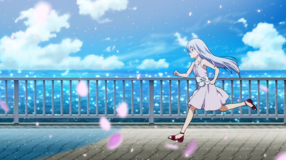 Rinne running along the shore with sakura blossoms falling around her | Island | Mystery Anime