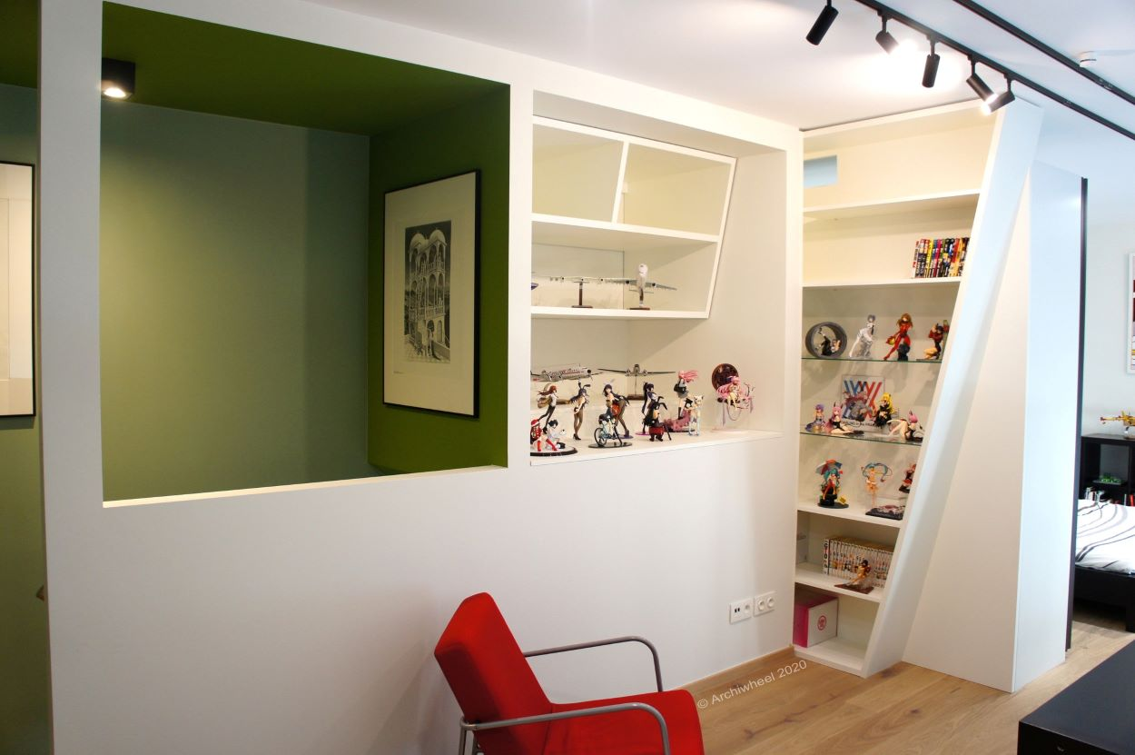 Shelving built into a recess | Shelving | Fun Ways to Display Your Figure Collection