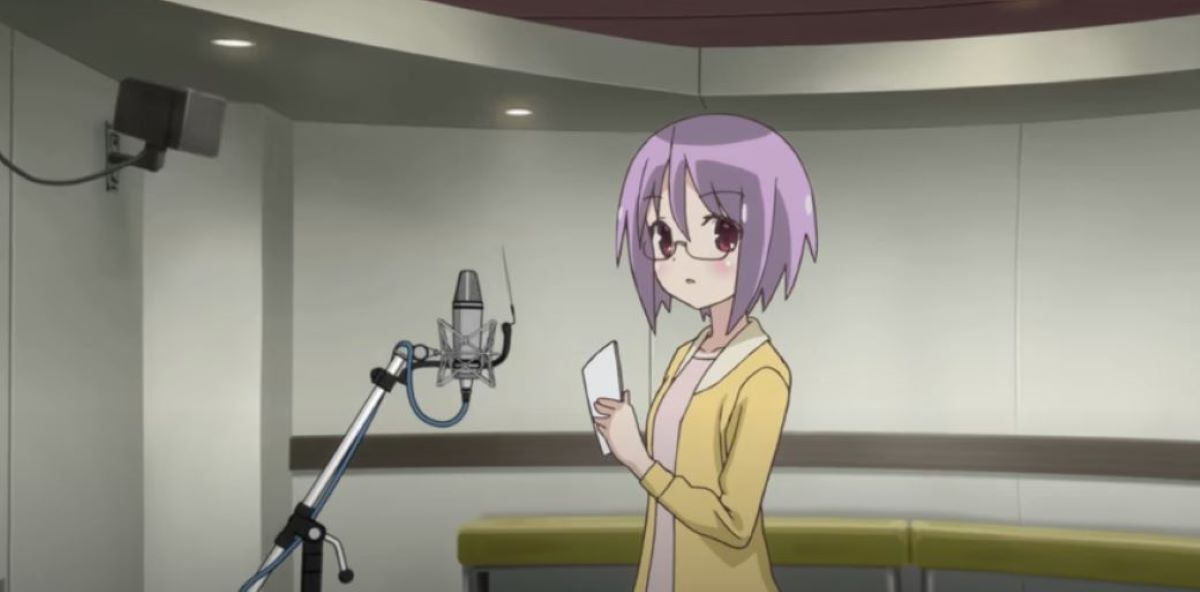 Futaba auditioning in the sound booth | Seiyu | Definitions - Words used in the Manga and Anime Industry