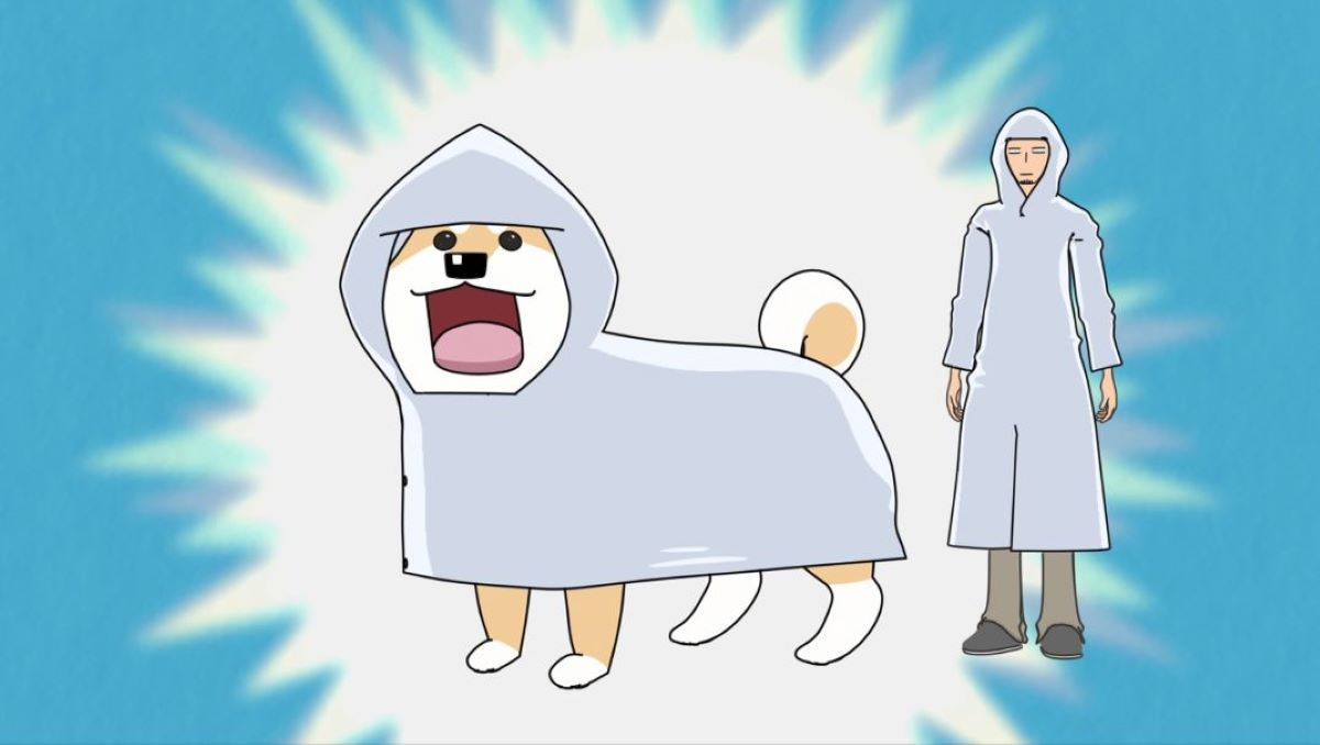 Muco enjoying her raincoat, Komatsu in the background all in a raincoat | Lovely Muuuuuuuco! | Anime Shorts to Make You Smile