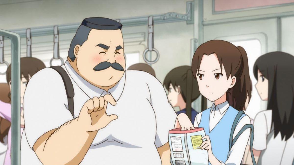Hige and Wakabayashi on the train talking about marshmallows | Ojisan and Marshmallow | Anime Shorts to Make You Smile