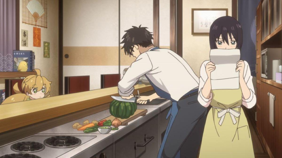 Kouhei cutting vegetables while Kotori reads the instructions. Tsumugi looks on | Sweetness and Lightning | Educational Anime!