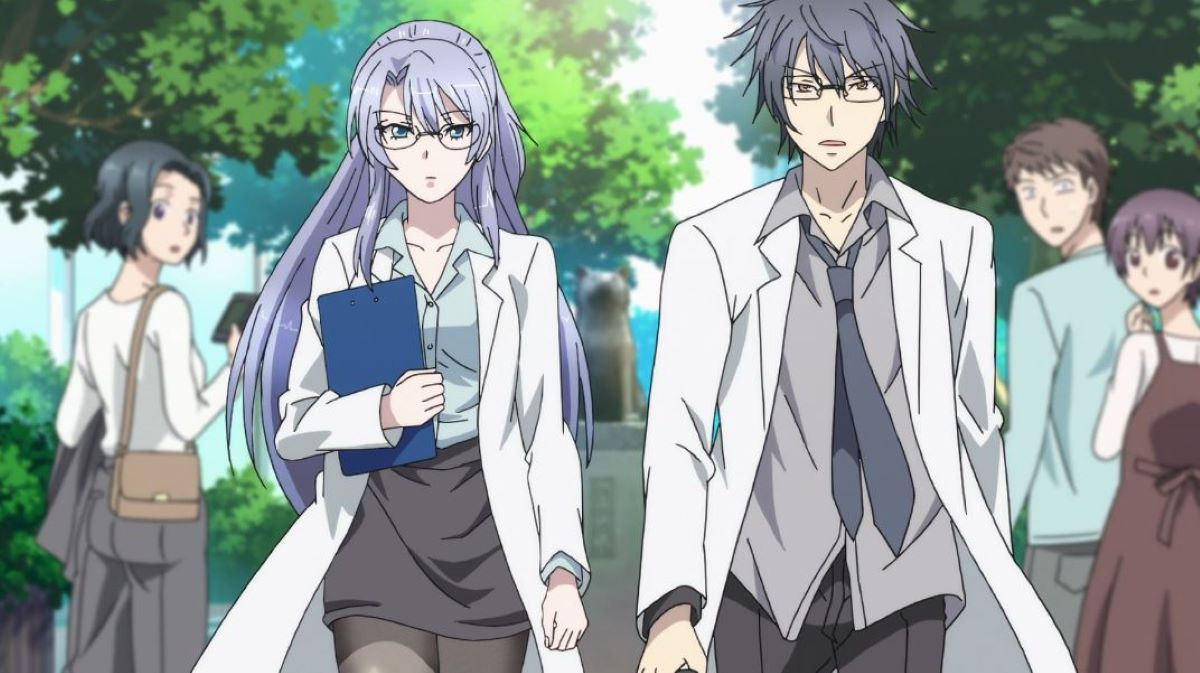 Ayame and Shinya going on a date, wearing their lab coats | Science Fell in Love, So I Tried to Prove it | Educational Anime!