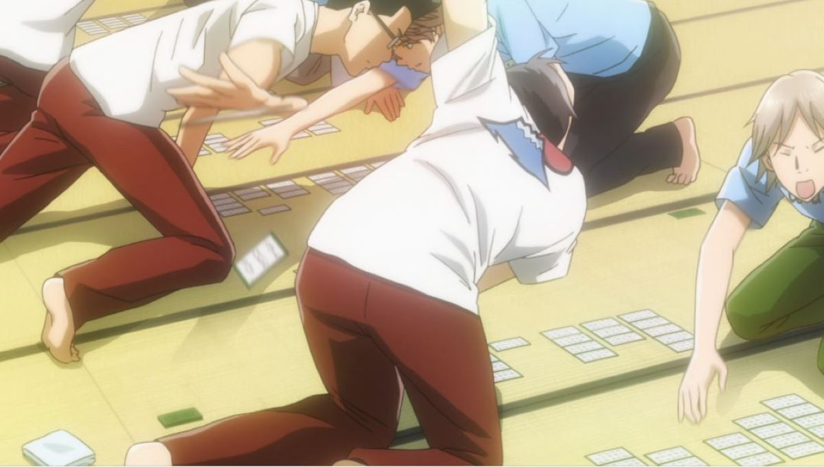 High school karuta competition, cards are scattered as opponents reach to take the card | Karuta | Traditional Japanese Sports and Games in Anime
