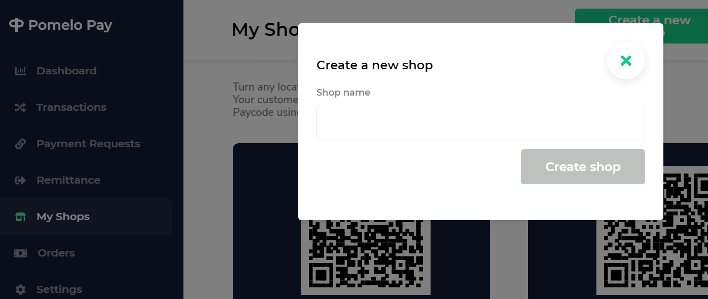 create new shop pomelo pay