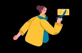 Illustration of a woman cutting a dollar in half