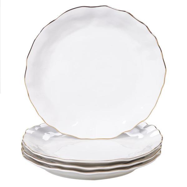 White Dinner Plates, Gold Trim