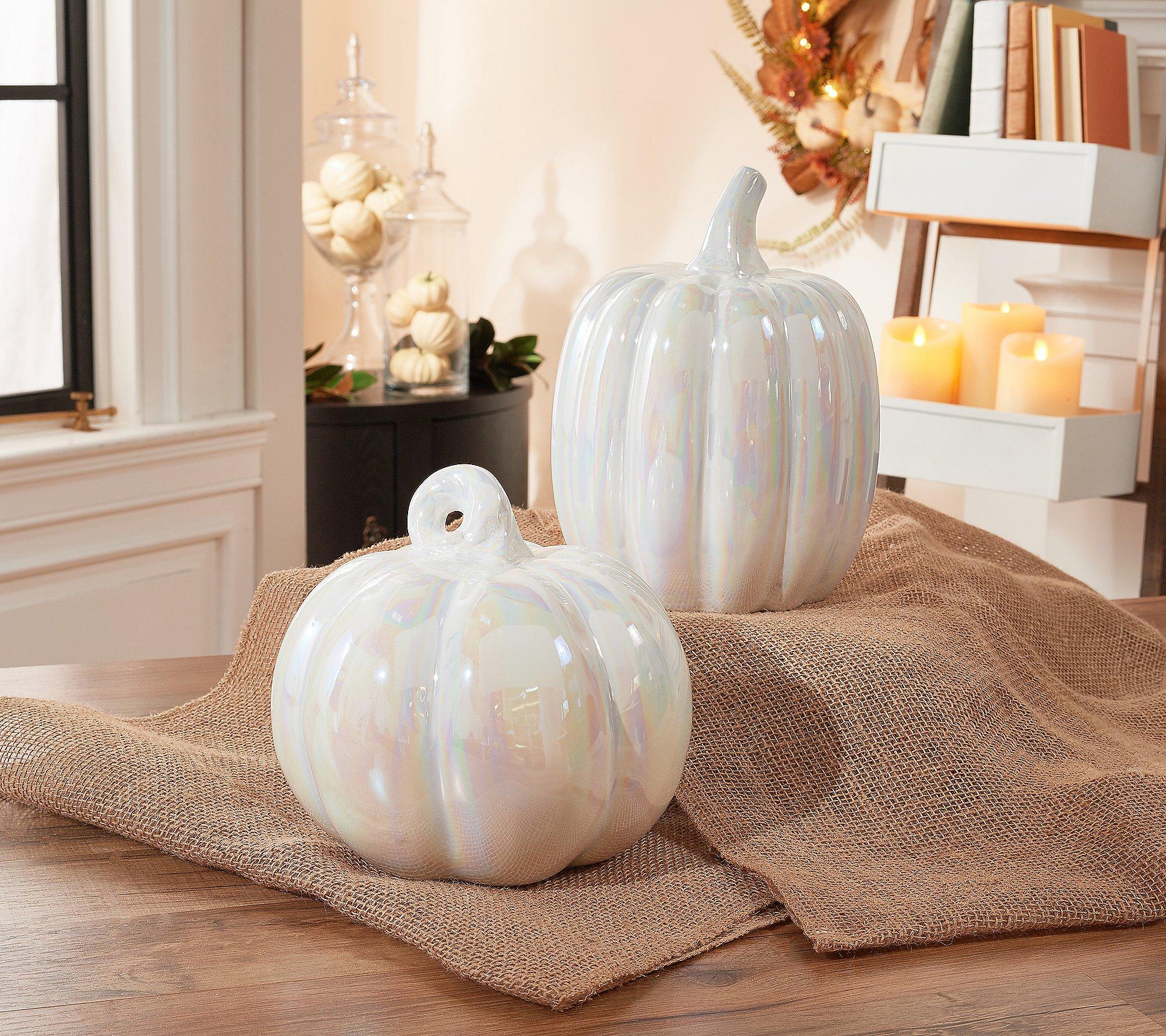 White Glass Pumpkins