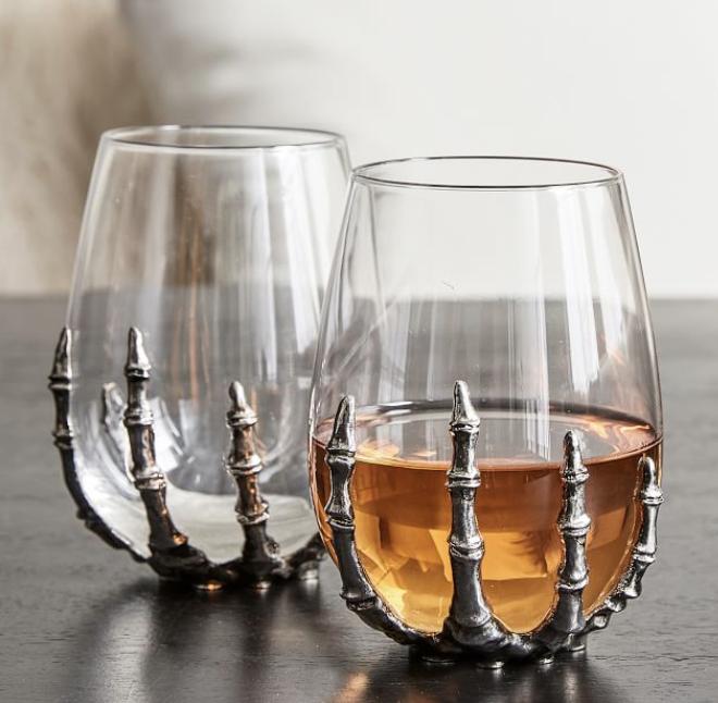 Skeleton Hand Stemless Wine Glass