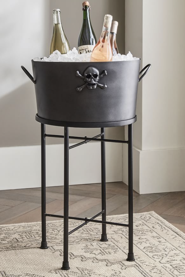 Black Metal Skull Party Bucket with Stand