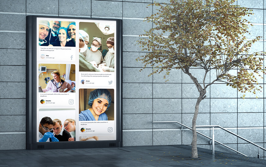 social media for healthcare permanent display social wall