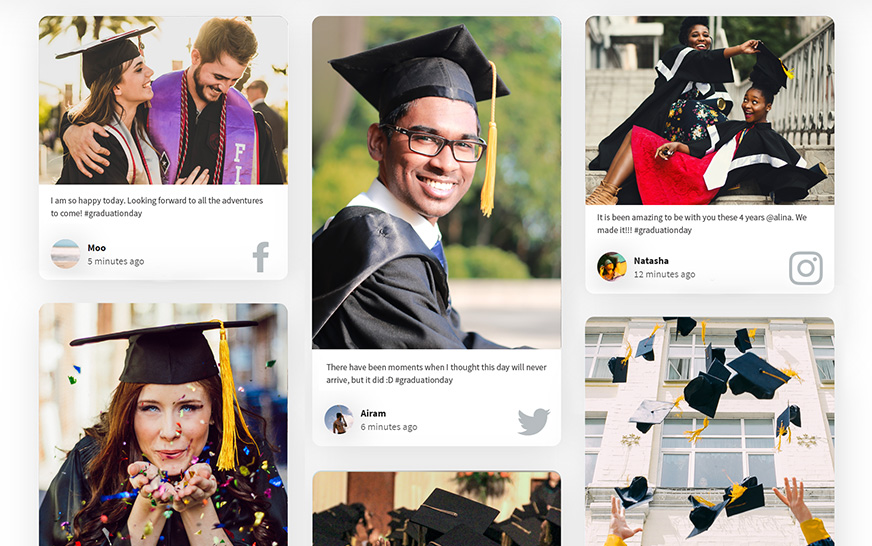 Social media in higher education social wall for graduation