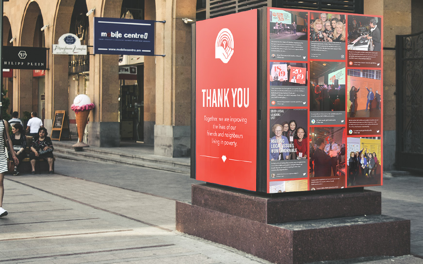 social media digital display in the city