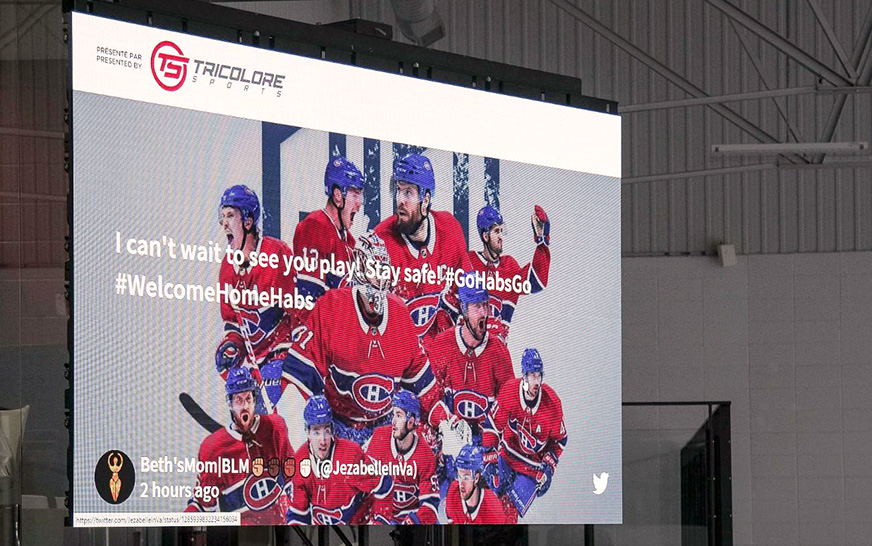 NHL team Montréal Canadiens connects players and fans with huge digital screen