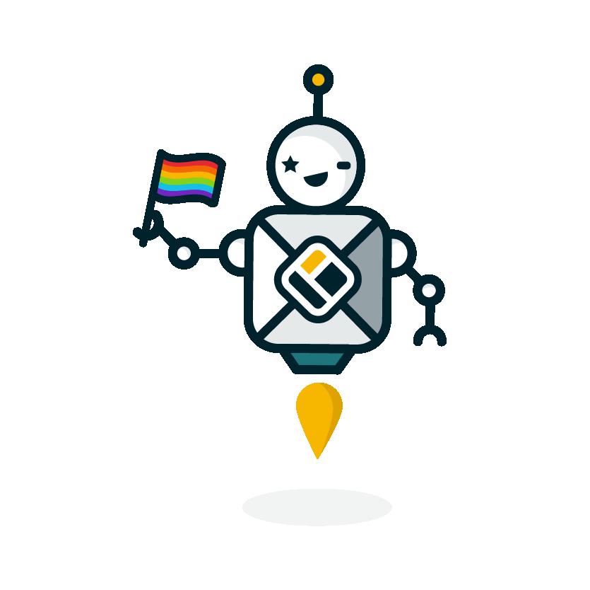 Walls.io Social Wall Chatbot Walter Holding a Pride Flag