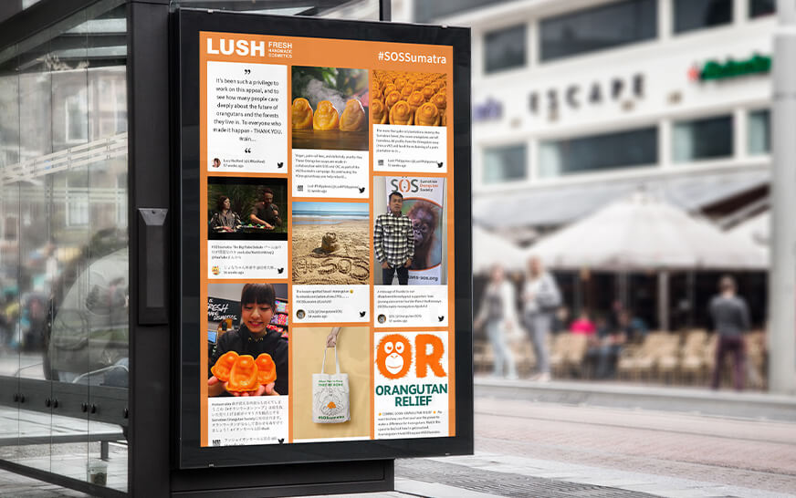 social media screens for out of home advertising