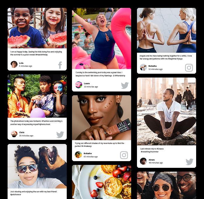 social media wall Twitter, Instagram, Facebook social feed