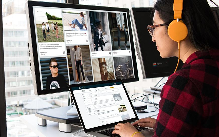 wordpress social media feed moderation, image of a woman moderating a social wall
