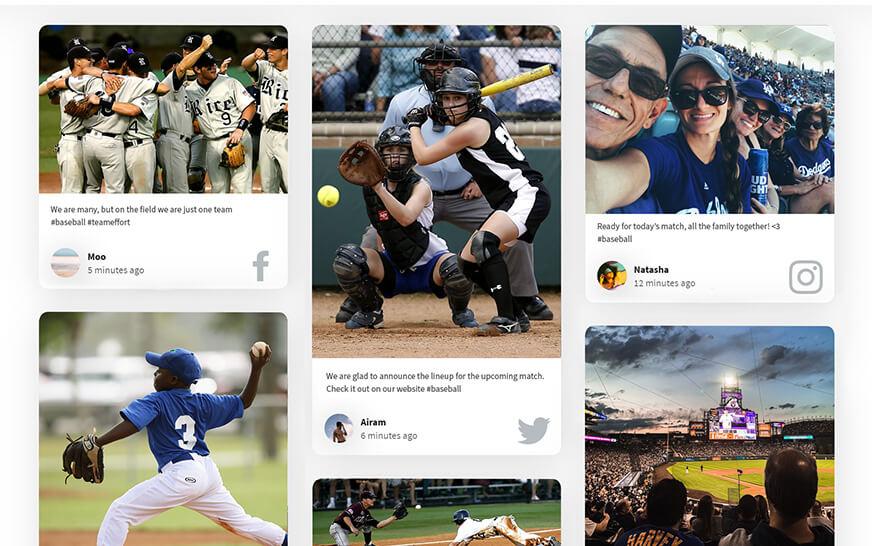 sports social media wall
