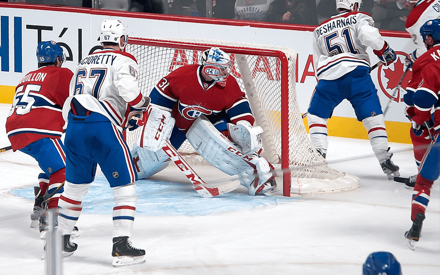 Montreal Canadiens during a game. They use a live Twitter wall display during the games to engage their supporters.