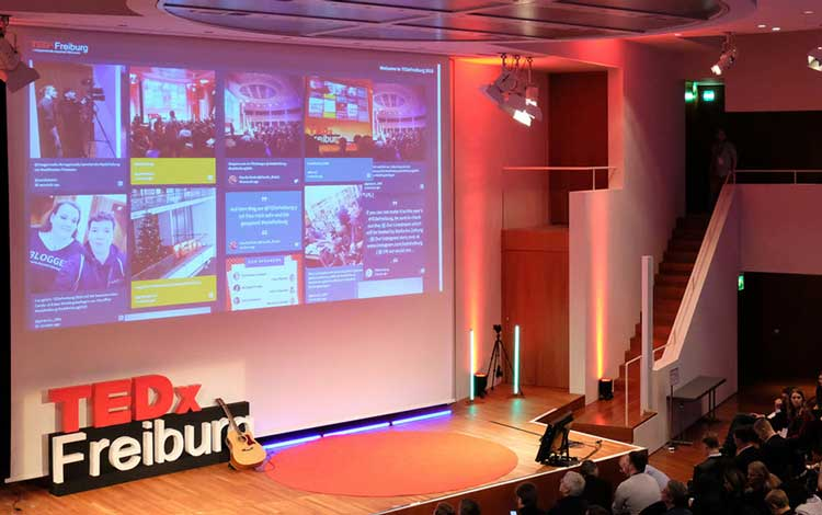 Social Media aggregator display at TEDx Freiburg