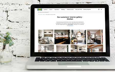 Ikea website social media feed displayed on a laptop