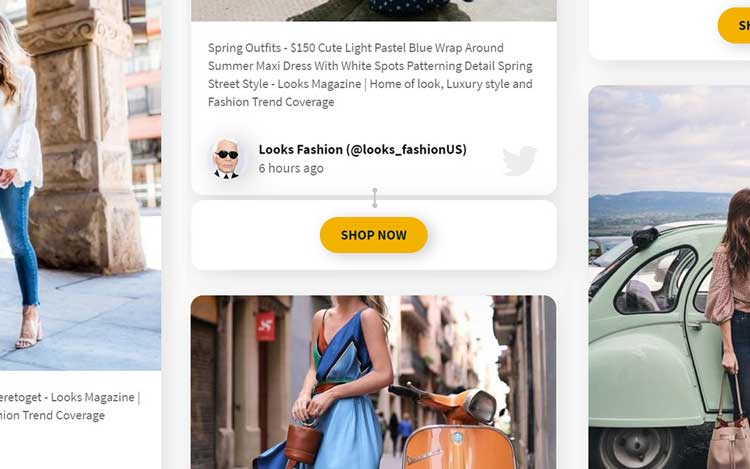 social wall CTA connecting social media content to a brand's products