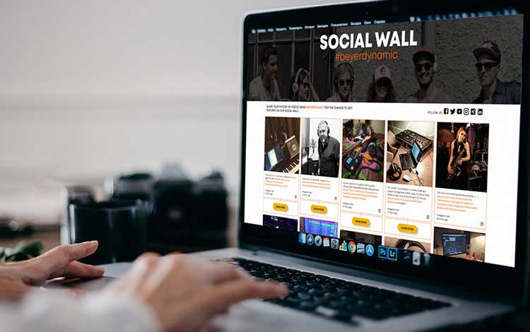 social media feed moderation, image of a woman moderating a social wall