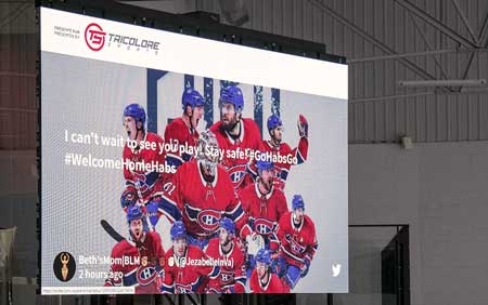 Canadiens Montreal NHL team twitter wall on stadium