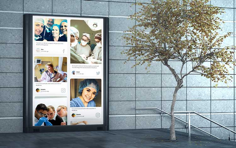 social media for healthcare permanent display social wall