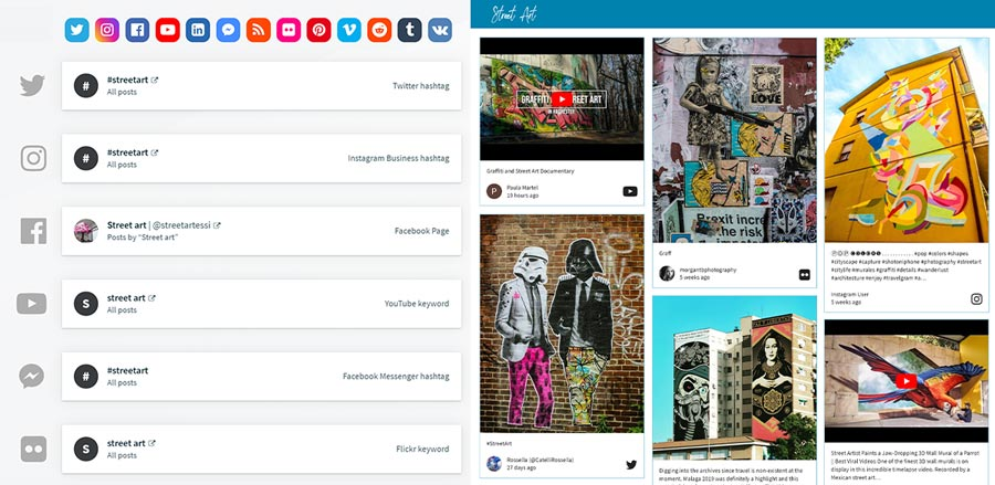 This is how added sources on your wall look like on Walls.io app