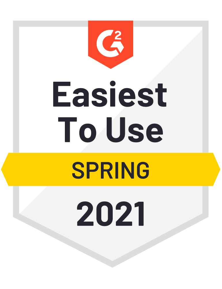 G2 Easiest to Use  Spring 2021 Badge