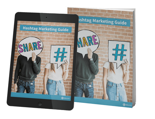 Book cover of the hashtag marketing guide showing a male and female covering their faces with a hash and share sign