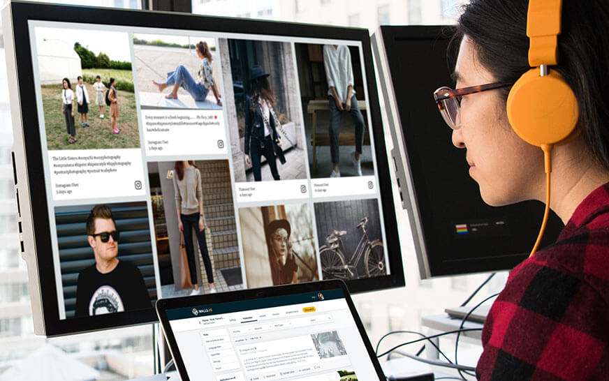 A social wall with influencers' content on a computer