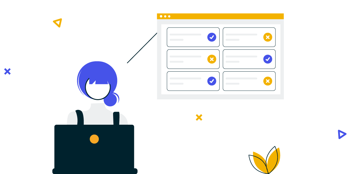 Illustration of a user doing social wall moderation.