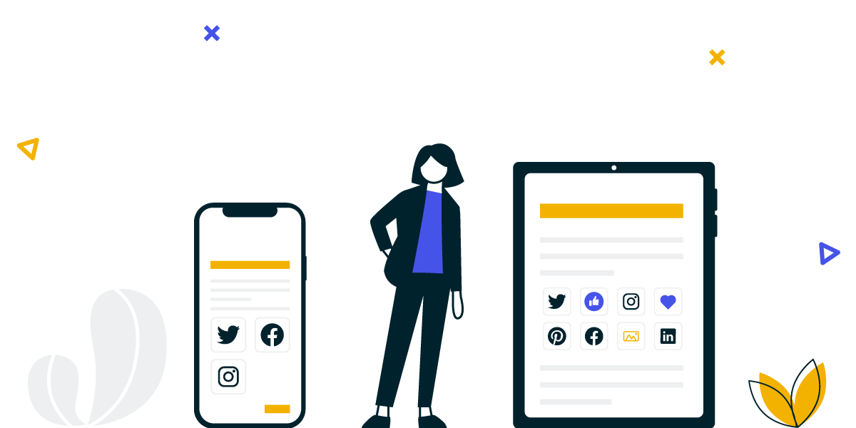 An illustration showing a social wall on 2 types of displays. The best social wall for Twitter, Instagram, Facebook, Pinterest, LinkedIn and more