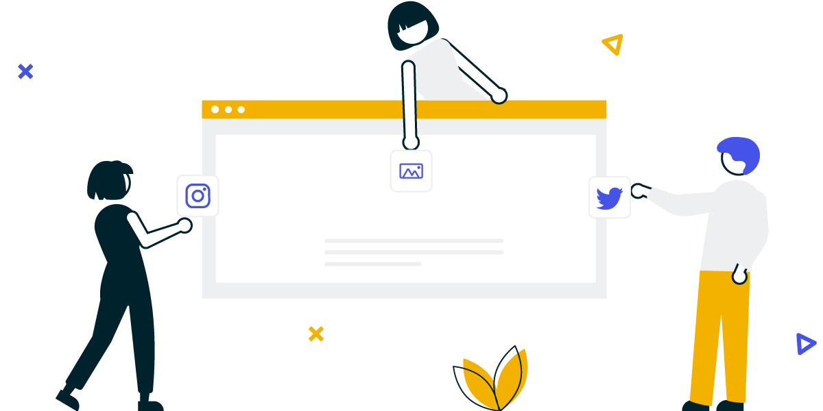 Social media feed for brands. Illustration showing users posting on a social wall from Twitter, Instagram or just contributing directly with content.