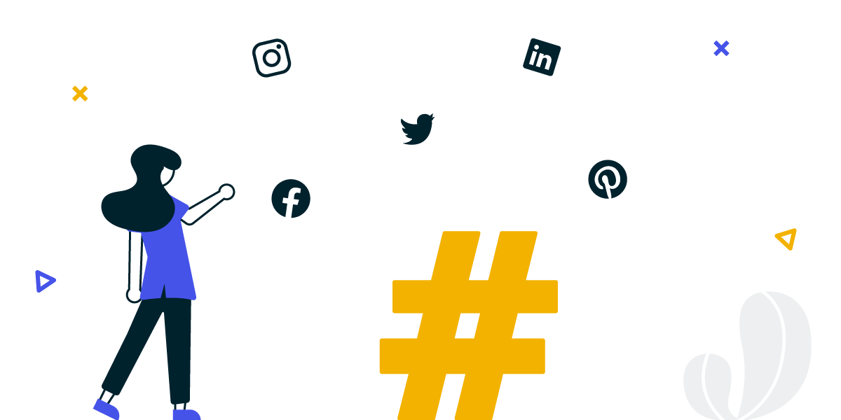 An illustration of a hashtag aggregator. A social wall solution for collecting content from LinkedIn, Instagram, Facebook, Pinterest and more.