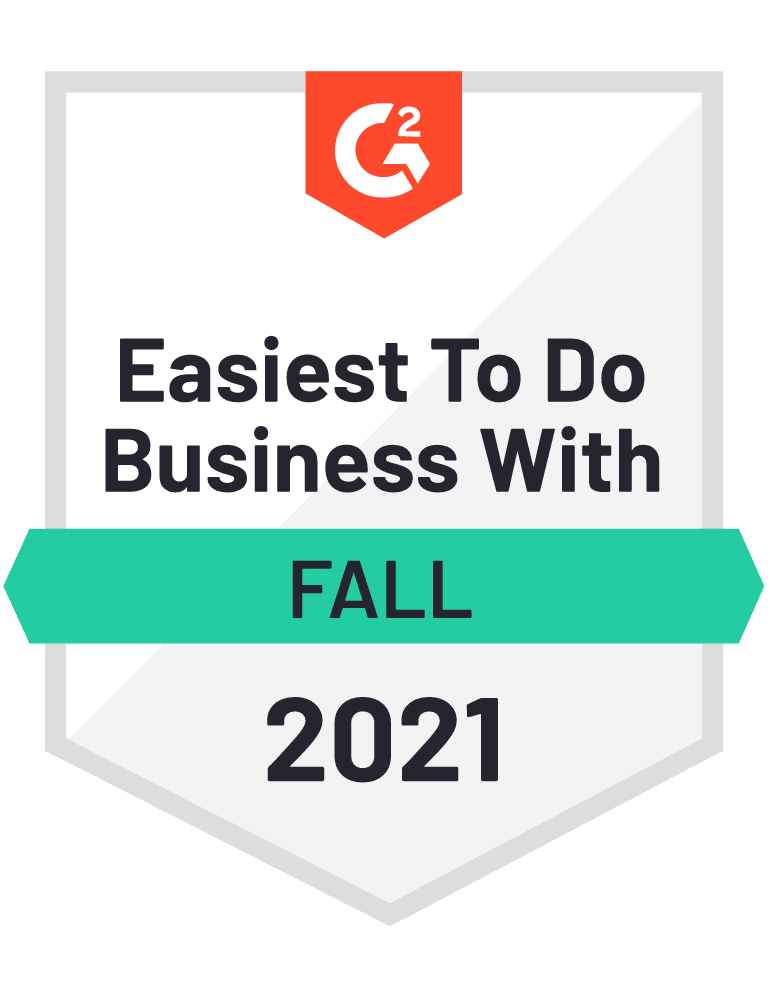 Badge G2 Easiest To Do Business With Fall 2021