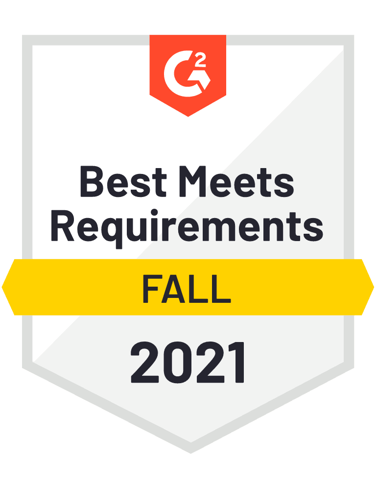 Badge G2 Best Meets Requirements Fall 2021