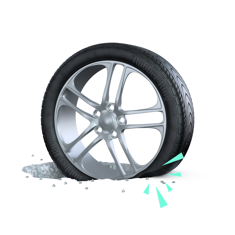 A punctured tyre caused by a pothole - get tyre insurance from Rubber Ring