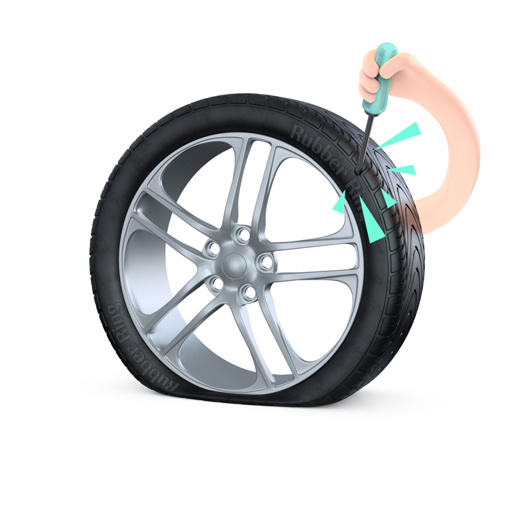 A punctured tyre caused by a screwdriver done maliciously - get tyre insurance from Rubber Ring