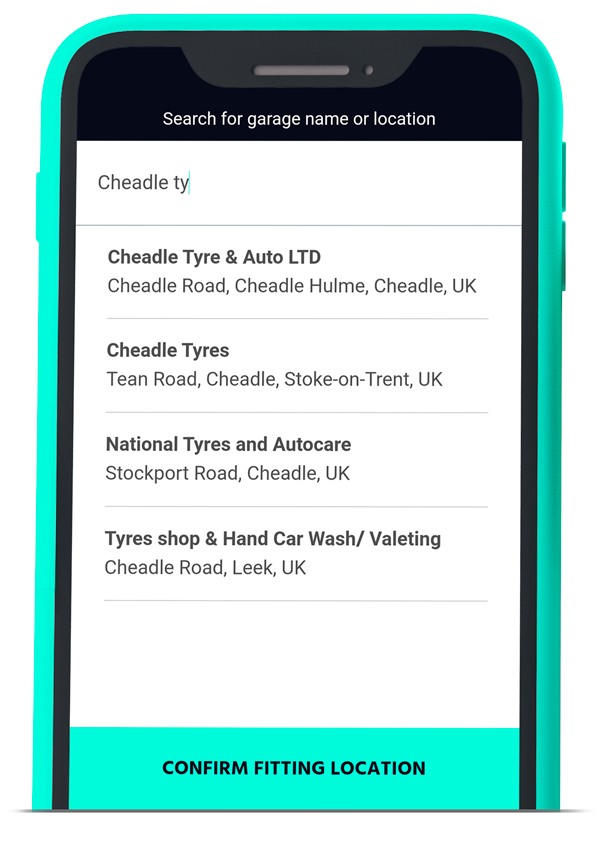 Step 2 - tell us at which garage you  had your tyres fitted - Rubber Ring Tyre Insurance