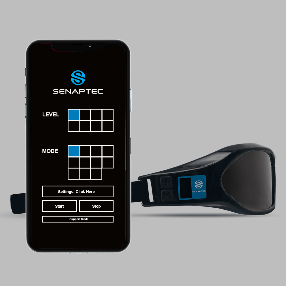Two buttons system and OLED display, show level, mode and battery status that allows for an easy to adjust modes and difficulty levels. The settings can also be controlled remotely with the Senaptec Strobe App.