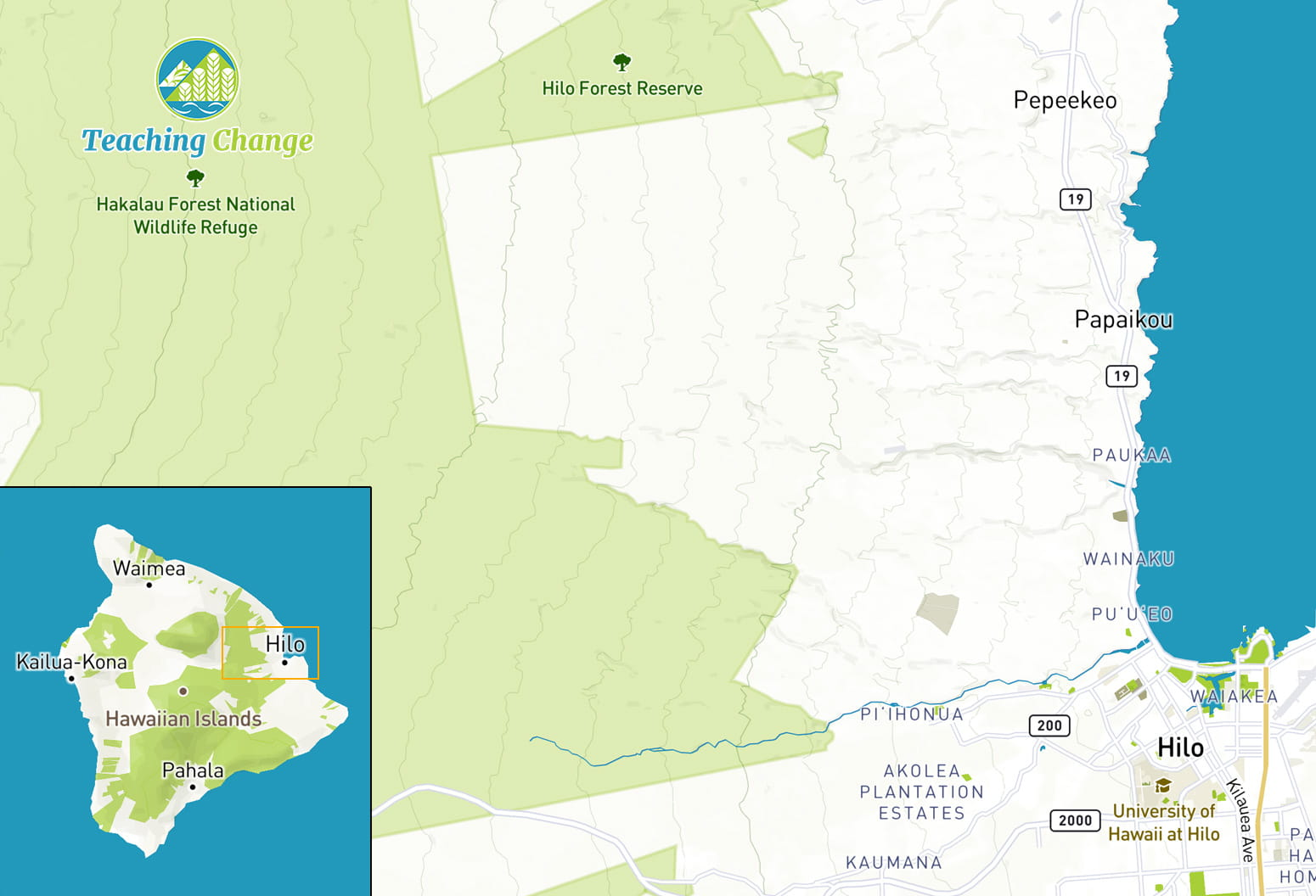 Map of Hakalau Forest National Wildlife Refuge in relation to Hilo and East Hawaii