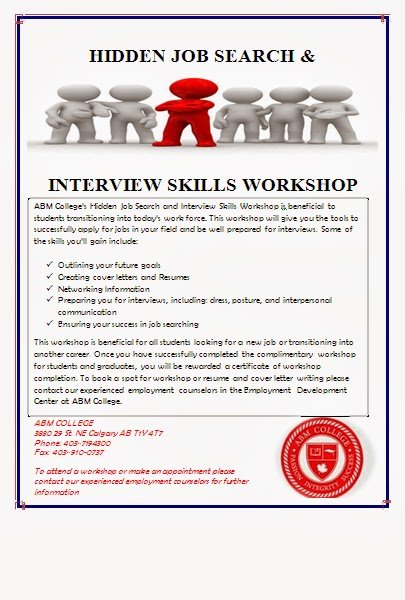 Poster for interview skills and job search.